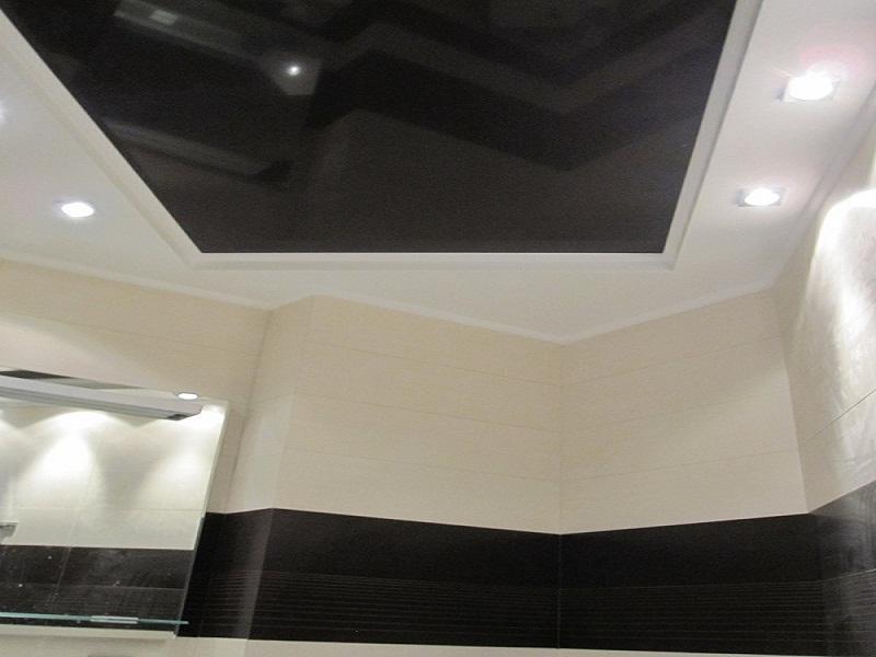 Натяжные потолки черные лаковые
